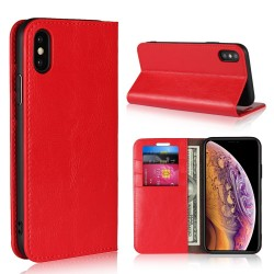 iPhone XS / X Blue Moon Wallet Leather Case - Red