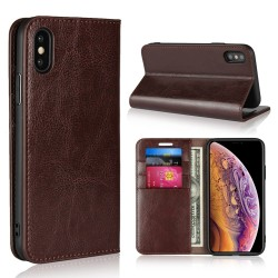 iPhone XS / X Blue Moon Wallet Leather Case - Brown