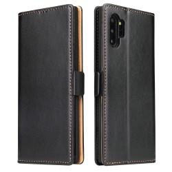 Samsung Galaxy Note 10 Plus Etui Portefeuille en cuir - Noir