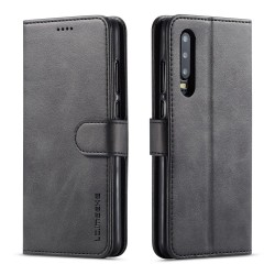 Huawei P30 Leather Wallet Case - Black