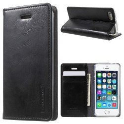 Etui Portefeuille en Cuir Blue Moon pour iPhone SE et 5S - Noir