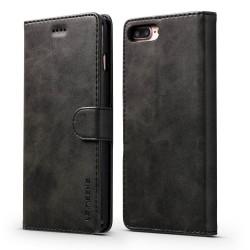 Etui Portefeuille en Cuir Blue Moon pour iPhone 8 Plus 7 Plus - Noir