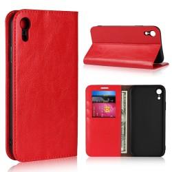 iPhone XR Etui Portefeuille en Cuir Blue Moon - Rouge