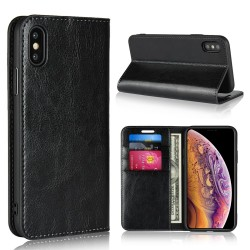 iPhone XS / X Blue Moon Wallet Leather Case - Black